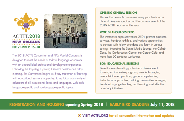 Fiplv 2018 With Actfl 2018 New Orleans Usa Call For Proposals